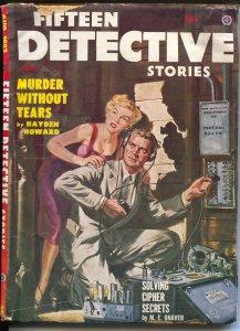 Fifteen Detective Stories #1 8/1953-Norman Saunders GGA cover-hardboiled pulp-VG