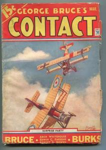 GEORGE BRUCE'S CONTACT 03/1934-WWI AVIATION-BI-PLANE-FRANK TINSLEY COVER-fn