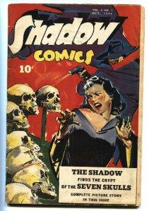 SHADOW COMICS V.4 #7-1944-Skull cover-Lingerie panels