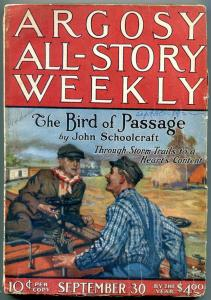 Argosy All-Story Weekly September 30 1922- Railroad cover- John Schoolcraft VG