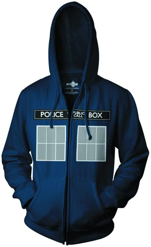 DOCTOR WHO CALL BOX WINDOWS ZIP HOODIE MEDIUM  RIPPLE JUNCTION NEW NEVER WORN