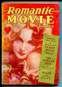 ROMANTIC MOVIE STORIES 01/1934-3RD ISSUE-MARLENE DIETRICH-CARY GRANT-vg minus