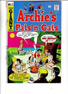 Archie's Pals 'n' Gals # 71 Strict VF- High-Grade Content Rare anti-drug story