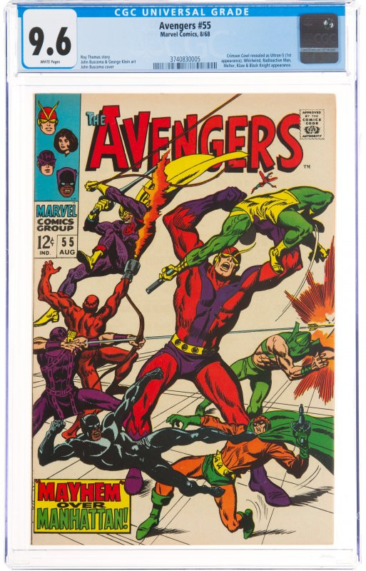 The Avengers #55 (Marvel, 1968) CGC NM+ 9.6 White pages. First full appearanc...