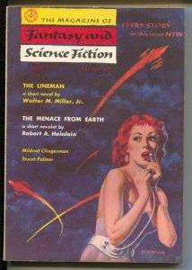 Magazine of Fantasy & Science Fiction 8/1957-Mercury-GGA cover by Waldman-Rob...