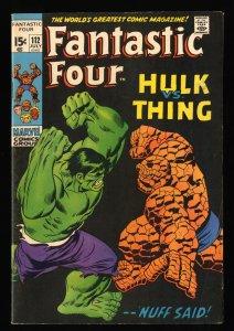 Fantastic Four #112 VG/FN 5.0 Hulk Vs Thing! Marvel Comics