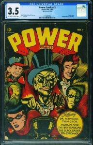 Power Comics #3 1944 CGC 3.5-L.B. Cole-classic cover 2110284002