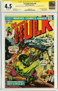 Incredible Hulk #180 CGC 4.5 Signed by Stan Lee, Lou Ferrigno, Trimpe, & Wein.