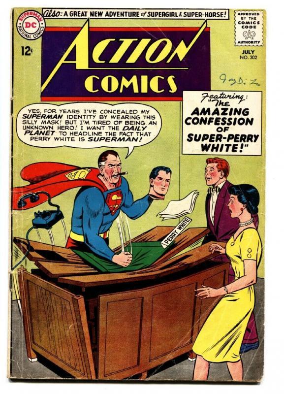 Action Comics 302 Comic Book Dc Jimmy Olsen Superman Silver Age Vg