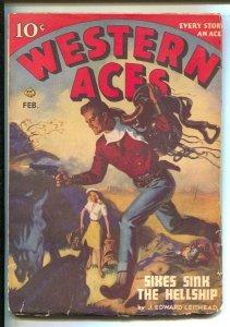 Western Aces 2/1947- Allen Anderson cover art-Pulp tales-Joseph Chadwick-Rich...