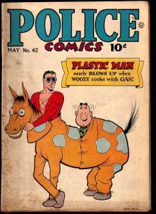 POLICE COMICS #42-PLASTIC MAN-JACK COLE ART-SPIRIT-RARE VG