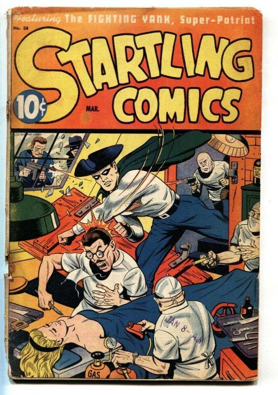 Startling Comics #38 1946-Wild torture cover  Pyroman- Fighting Yank- Schombu...
