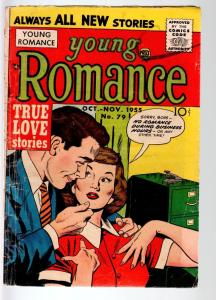 YOUNG ROMANCE #79-1955-SPICY GOOD GIRL ART-SIMON & KIRBY ART-PRIZE-GVG cond G/VG