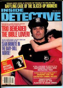 Inside Detective 4/1987-Bible lover beheaded-violent pulp crime thrills-VG