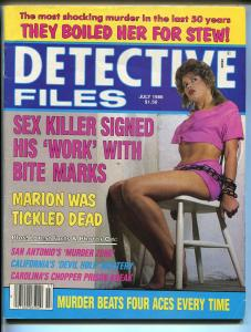Detective Files 7/1986-spicy babe-tickled dead-chained-sex slayer-VG