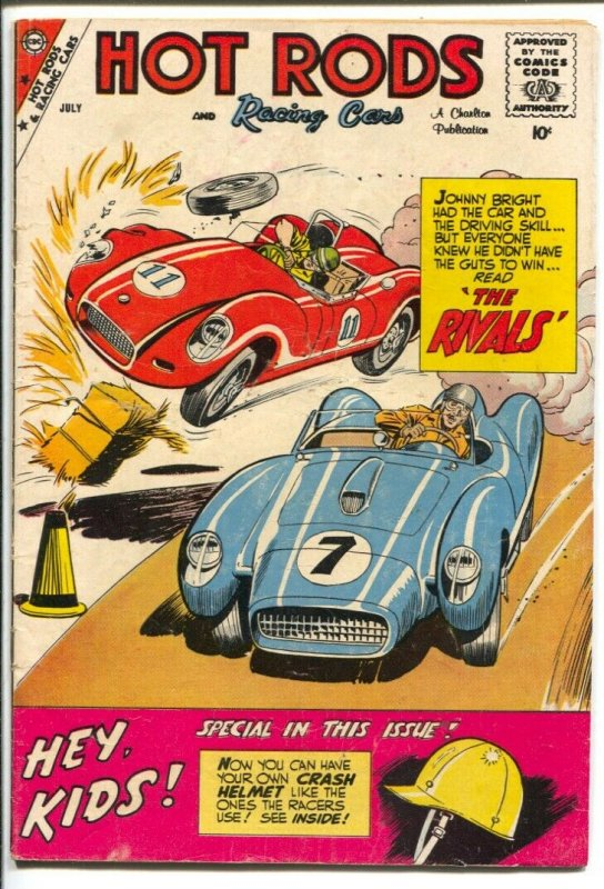 Hot Rods & Racing Cars #44 1959-Charlton-Jack Keller art-sports car crash cover-