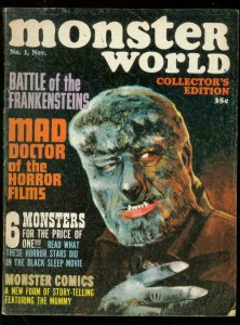 MONSTER WORLD #1 1964-WOLFMAN COVER-WALLY WOOD-MUMMY VG