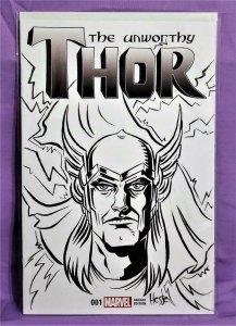 Jason Aaron THE UNWORTHY THOR #1 Signed Remarked by Erica Hesse (Marvel, 2017)!