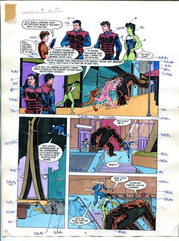 Elementals #9 Page #19 Original Color Guide Ken Feduniewicz