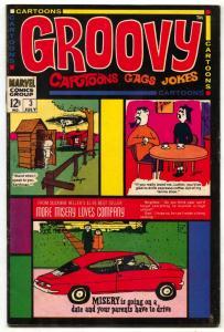Groovy #3 1968- Dan DeCarlo- Cartoons- Jokes-Gags FN-