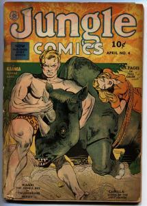 JUNGLE COMICS #4-1940-1st Bondage cover-KAANGA-RED PANTHER-FICTION HOUSE