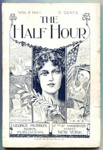 HALF HOUR-OCT 1898-EARLY PULP MAGAZINE-WITCHCRAFT IN HAWAII-AMERICAN FLAG COV...