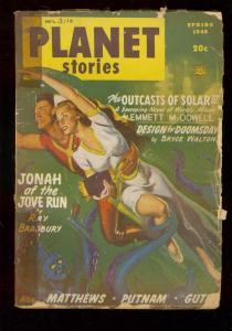 PLANET STORIES PULP-SPG 1948-FICTION HOUSE-RAY BRADBURY FR/G