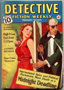 Detective Fiction Weekly Pulp Jan 14 1939- Hugh Cave- Eyepatch menace GGA cover