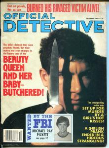 Official Detective 12/1985- large knife cover-crime pulp thrills-baby butcher-G