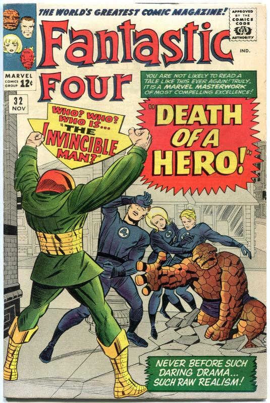 FANTASTIC FOUR #32, VG/FN, Invincible Man, Jack Kirby, 1961, more in store, QXT