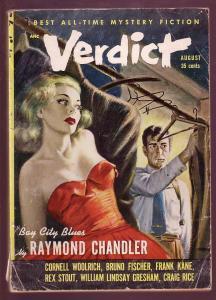 VERDICT 1953 #3-RAYMOND CHANDLER-WOOLRICH-MYSTERY -PULP G/VG