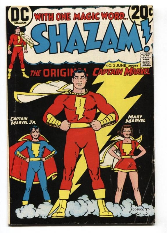 SHAZAM #3 great cover comic book - 1973 Mary Marvel