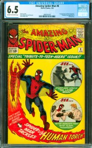 Amazing Spider-Man #8 CGC Graded 6.5 1st appearance of the Living Brain. Fant...
