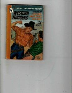 3 Books Western Triggers The Desert Hawk Three Ring Mad Western Mystery JK30