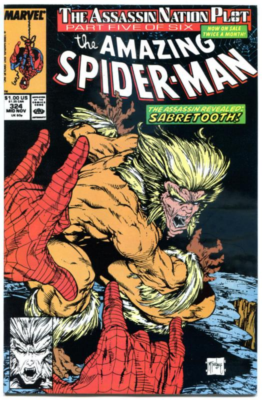 SPIDER-MAN #324, VF/NM, Sabretooth, Todd McFarlane, Amazing, 1963, more in store