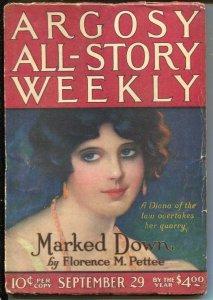 Argosy All-Story Weekly 9/29/1923-Avenging Shepherd Part 2-pulp thrills-G