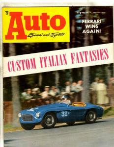Auto Speed & Sport August 1952 Ferrari Photo Cover Magazine Italian Fantasy JL35