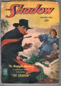 SHADOW 1949 WINTER-RARE HERO PULP-WALTER GIBSON-VG VG