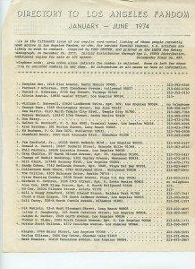 Directory to Los Angeles Fandom (Jan - June 1974) Historical document