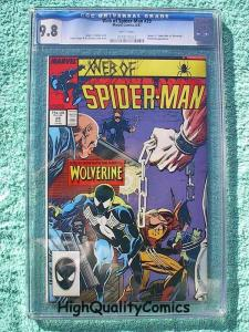 WEB of SPIDER-MAN #29, vs Wolverine, CGC = 9.8, NM/M, more in store