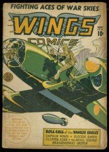 WINGS COMICS #33 1943-FICTION HOUSE-SUICIDE SMITH-WW II VG