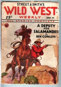WILD WEST WEEKLY-6/30/1934-PULP-SALAMANDER-RARE G+