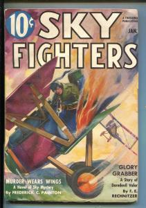 SKY FIGHTERS 1/1938-AIR WAR PULP-THRILLS-FLAMING BI-PLANE COVER-vg