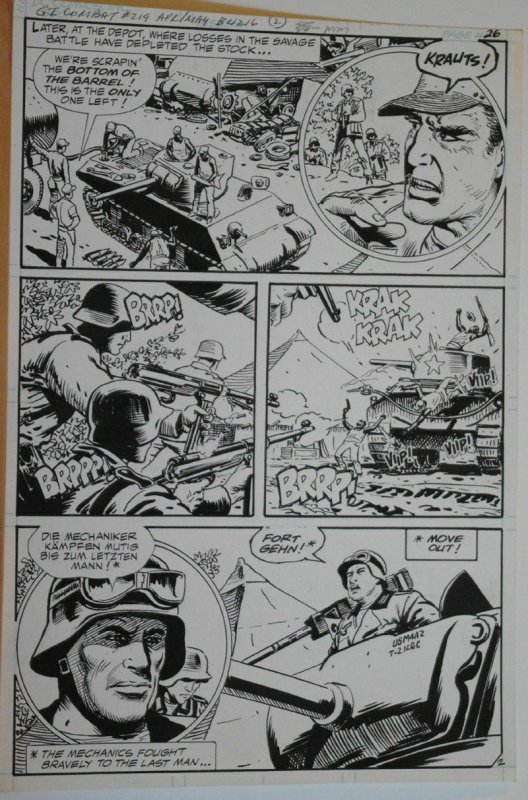 SAM GLANZMAN original art, G I Combat #219 Pg 26, 11x 16, WWII, Haunted Tank