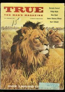 TRUE MAGAZINE FEB 1957-FAWCETT-LION COVER- G