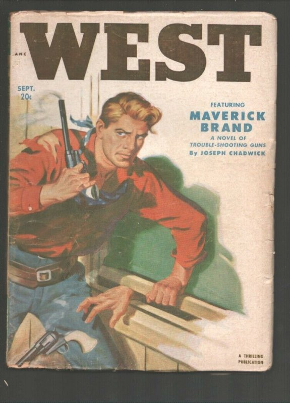 West 9/1951-Thrilling-Gunfight cover by Robert Lillis-Maverick Brand by Jos...