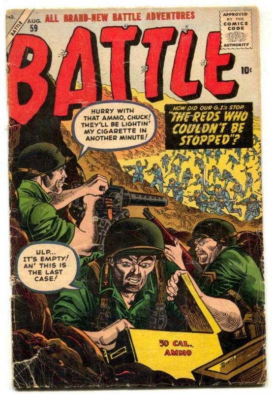 Battle Comics #59 1958- Atlas War- Maneely cover incomplete