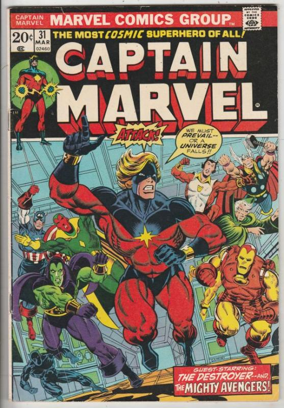 Captain Marvel #31 (Mar-74) FN/VF+ Mid-High-Grade Captain Marvel