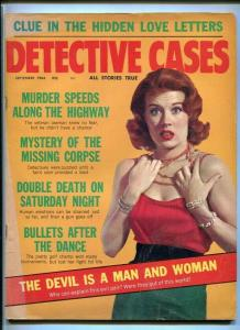 DETECTIVE CASES-SEPT. 1964-CLUES-MURDER-MYSTERY-CORPSE-DOUBLE DEATH-DEVIL FN