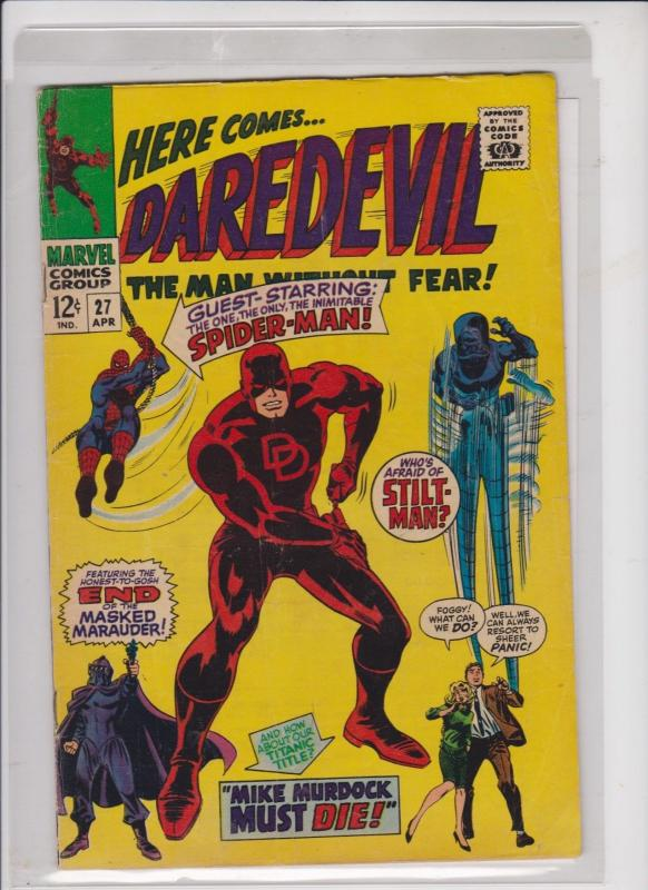 DAREDEVIL THE MAN WITHOUT FEAR V1 #27  1966  MIKE MURDOCK MUST DIE